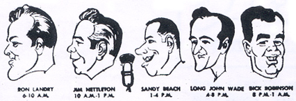 WDRC's Friendly Five: Ron Landry, Jim Nettleton, Sandy Beach, Long John Wade and Dick Robinson circa 1965
