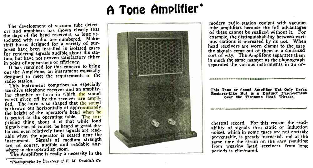 Doolittle Amplifone ad in the December 1920 issue of Radio News, p.367