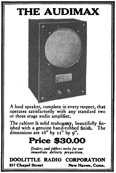 Audimax advertisement in the September 1922 issue of Radio Broadcast magazine