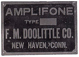 closeup of the metal plate attached to a Doolittle Amplifone