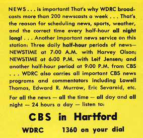 1958 ad for WDRC News