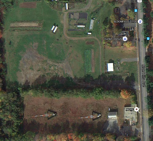 2012 Google photo showing WDRC transmitter site & former Blue Hills Drive-In Theatre