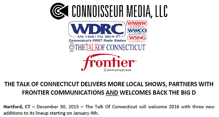 Connoisseur press release on WDRC changes effective January 4, 2016