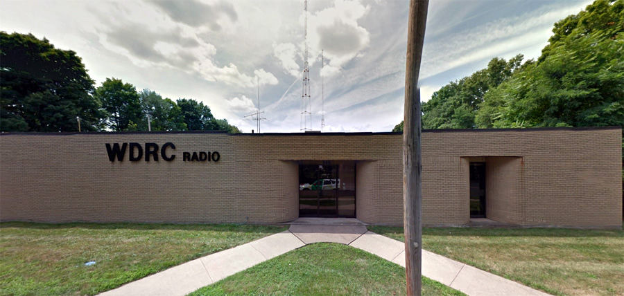 WDRC transmitter building at 869 Blue Hills Avenue in Bloomfield