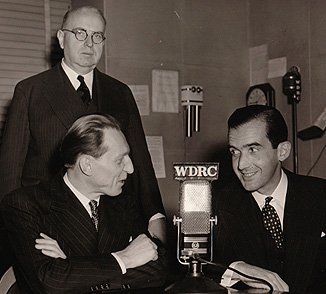 WDRC's Ray Barrett with CBS Commentator Edward R. Murrow and WDRC founder Franklin M. Doolittle