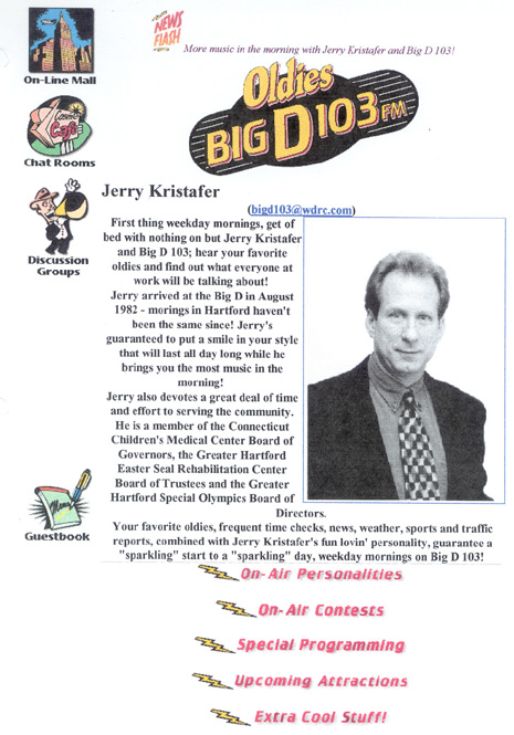 Jerry Kristafer web page circa 1996