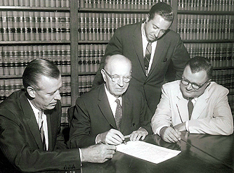 August 3, 1959 - (l-r:) Richard D. Buckley, Franklin M. Doolittle, John B. Jaeger and Victor E. Forker [standing] at transfer of WDRC