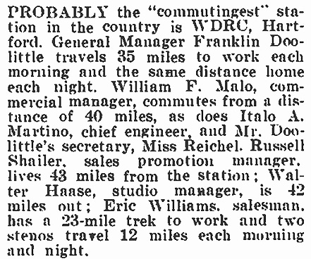 Broadcasting magazine, September 15, 1938, p.67 - Peggy reichel was one of many WDRC employees who had lengthy daily commutes