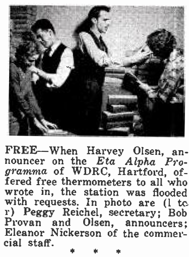 Broadcasting magazine, January 15, 1938, p.82 - secretary Peggy Reichel sorts mail along with WDRC announcers Harvey Olson, Bob Provan and Eleanor Nickerson