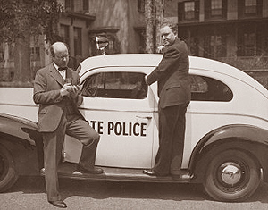 1940 - Dan Noble with one of his FM-equipped Connectoicut State Police cruisers
