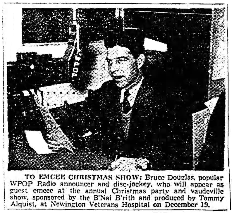 photo of WPOP's Bruce Douglas in the Hartford Courant - December 16, 1956