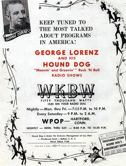 George Hound Dog Lorenz poster from WKBW/WPOP, circa 1958