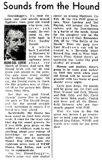 Hound Dog newspaper column - February 9, 1958