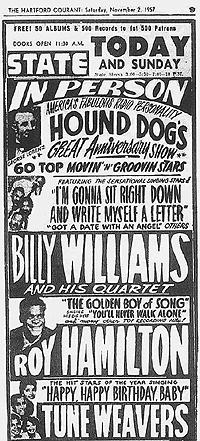 newspaper ad for November 2, 1957 show at the State Theater in Hartford