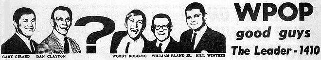 September 29, 1967 - WPOP airstaff:  Gary Girard, Dan Clayton, ?, Woody Roberts, William Bland, Jr., Bill Winters