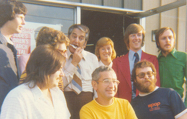 Danny Thomas joins WPOP staff outside the Cedar Street studios in Newington, circa 1974.