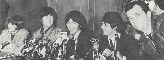 WDRC's Dick Robinson with the Beatles in 1965